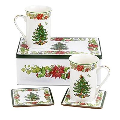 Spode - Christmas Tree & Poinsettia Mug Tin Set 2017