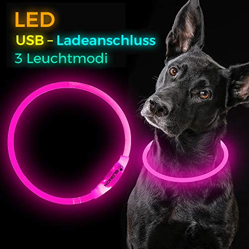 ELANOX LED hondenhalsband oplaadbaar, USB-lichtslang huisdieren, op maat te knippen hondenhalsband fleshring lichtring, zuschneidbar, roze