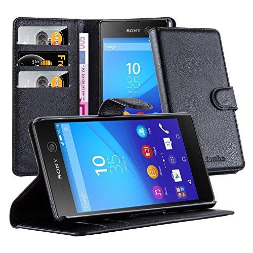Cadorabo Hülle für Sony Xperia M5 in Phantom SCHWARZ - Handyhülle mit Magnetverschluss, Standfunktion & Kartenfach - Hülle Cover Schutzhülle Etui Tasche Book Klapp Style