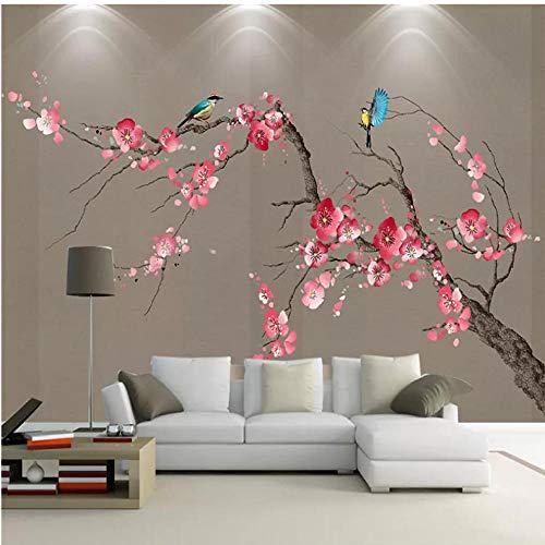 Fotobehang Chinese Stijl 3D Hand Geschilderde Pruim Bloesem Bloemen en Vogels Muren Woonkamer TV Bank Achtergrond Behang 3D 450x300cm