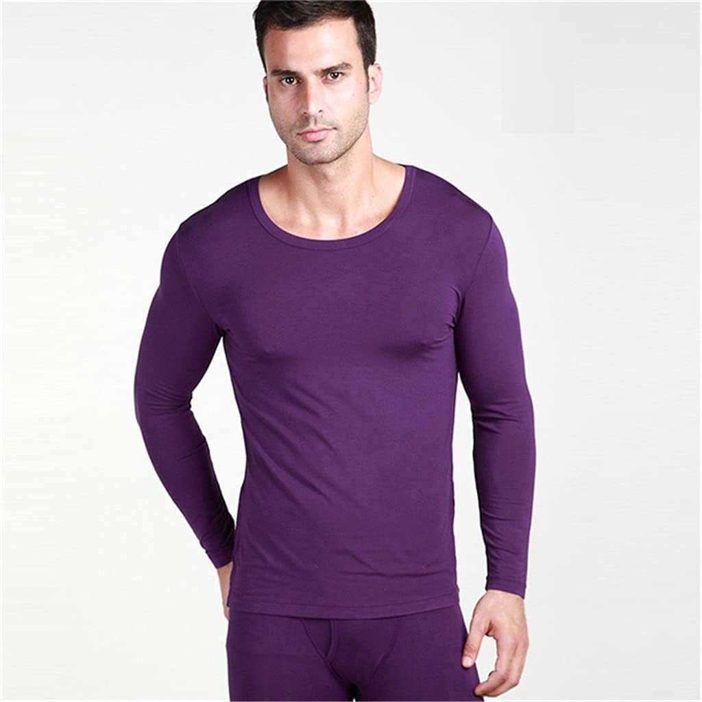 GELTDN Men's Underwear O Neck Thin Thermal Long Underpants and Undershirts Size L to 6XL (Color : E, Size : XXXL Code)