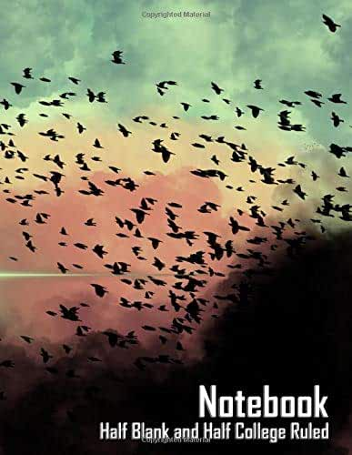 """Notebook - Birds in the Clouds (Half Blank Half College Ruled, Matte Softcover, 196 White Lined Pages, 8.5"""" x 11"""" (21.59 x 27.94 cm))"""