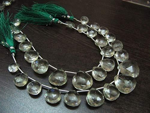 Shree_Narayani Cuentas graduadas de amatista verde natural en forma de corazón de Briolette facetadas de 10 a 16 mm, tamaño de hebra de 8 pulgadas de largo, amatista natural, piedra natal de 1 hebra