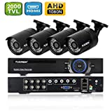 FLOUREON DVR Kit Videosorveglianza (8CH 1080N AHD HDMI DVR + 4 * 960P 2000TVL 1.3MP Teleca...