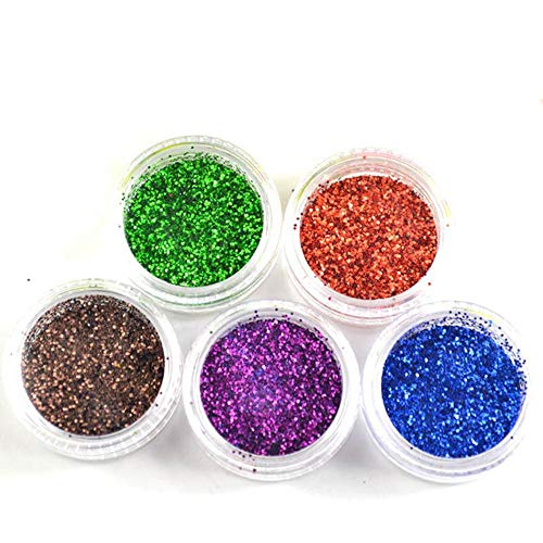 5 kleuren Holografisch Cosmetisch Festival Poeder Pailletten Ambachtelijke Glitter voor Kunst Gezicht Haar Lichaam Nagelschuddenkaart waardoor losse poeder, transparant