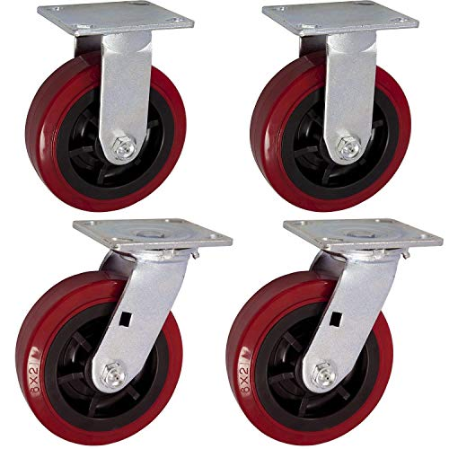 "6"" X 2"" Heavy Duty Caster Set of 4-2 Swivel Casters and 2 Rigid Casters - 3600 lbs Per Set of 4 - (4 Pack) - Dark red Polyurethane on Black Polyolefin Core - CasterHQ Brand Casters"