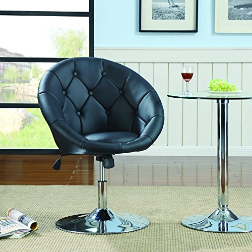 Round Tufted Swivel Chair Purple and Chrome