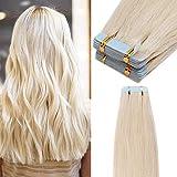 40 Pcs Extension Adhesive Naturel Extensions Cheveux Naturel à Bande Adhesive Rajout...
