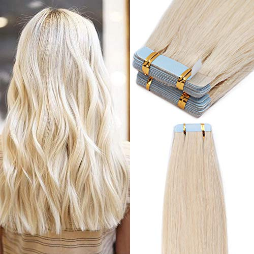 40 Pcs Extension Adhesive Naturel Extensions Cheveux Naturel à Bande Adhesive Rajout Cheveux Humain (#70 BLANC BLANCHI, 35CM - 80g)