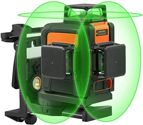 Livello laser, 3 x 360 Livella Laser a Croce, Campo di Lavoro 40m, Linea Laser Verde Autolivellante, Modalità Impulso Esterno, Porta di ricarica USB, Batteria al litio, Base magnetica, SC-L08
