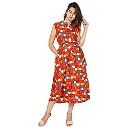 OXYCO Print Checkered Womens Cotton Jaipuri Midi Dress/Kurta Girls