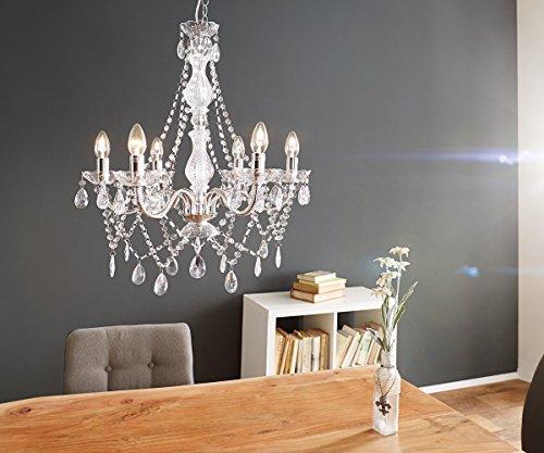 DELIFE Hängeleuchte Gypsy Starlight Transparent 55 cm 6-armig Kronleuchter
