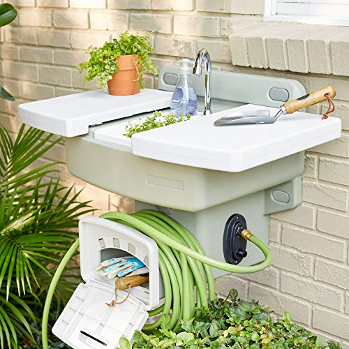BrylaneHome Outdoor Garden Sink with Hose Holder Reel Potting Station, White