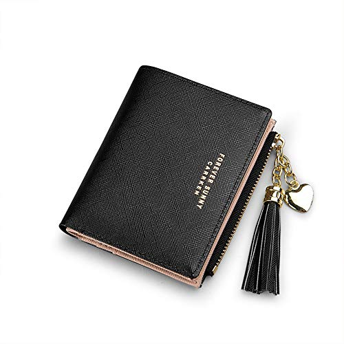 Womens Small Wallet Mini Purse Bifold Slim Card Case Holder Zipper Coin Pocket