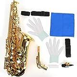 Kit de saxofón Alto, electroforesis de latón Plano E Tubo de doblado tratado con Oro Instrumento de saxofón con Correa, Grasa de Corcho, Guantes Blancos, Cepillo de Tubo de Limpieza, Flauta de (Oro)