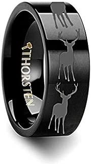 Thorsten Wildlife Stag Deer Elk Animal Antlers Print Pattern Ring Black Tungsten Ring 6mm Wide Wedding Band from Roy Rose Jewelry
