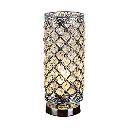 STERB Tabla lámpara de Cristal de Cromo Pulido de Acabado de Noche de luz, Base E27 for Sala de Estar Dormitorio