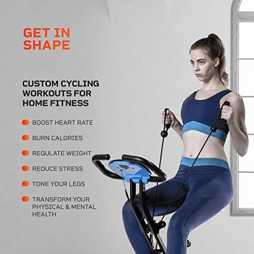 Product Image 4: LifePro Foldable Stationary Bike, Pulse Sensors, Adjustable Resistance – Slim Portable Bike Exercise Machine for Indoor Cycling, Home Gym, Workout – Fitness Equipment for Men, Women, Seniors