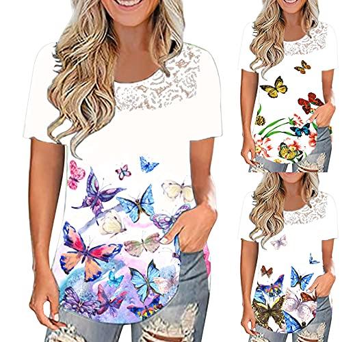 Ynipajk Tops de manga corta para mujer, moda y ocio, talla grande, diseño floral, cuello redondo, camisetas con volantes, para mujer, de manga corta, colores degradados, A-02., S