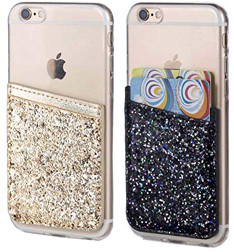 Glitter Adhesive Phone Pocket,Cell Phone Stick On Card Wallet,Credit Cards/ID Card Holder(Double Secure) with 3M Sticker for Back of iPhone,Android and All Smartphones-Gold&Black