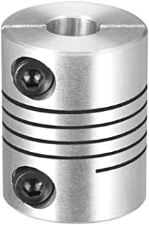 uxcell Motor Shaft 6.35mm to 8mm Joint Helical Beam Coupler Coupling 20mm Dia 25mm Length Silver