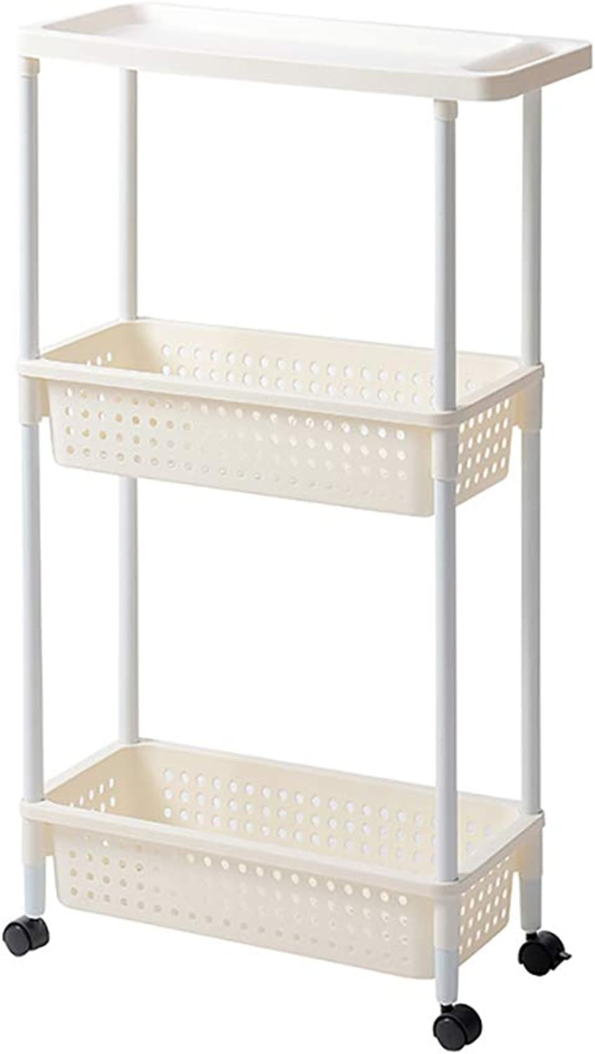 3 4 Tier Kitchen Storage Trolley with Wheels Plastic Fruit Vegetable Rack for Bathroom Multifunction Organizing (Size   50  21  86cm)