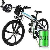Bicicleta eléctrica de montaña, 250W, Batería 36V E-Bike Sistema de Transmisión de 21 Velocidades con Linterna con Batería de Litio Desmontable (B_Blanco, 26 Pulgadas)