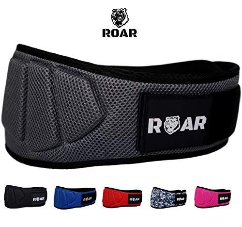 Roar® Cinturón musculación para Entrenamiento de Levantamiento de Peso Crossfit Powerlifting Halterofilia Pesas Gimnasio (Gris, M)