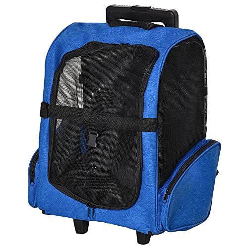 Pawhut Transportín Carrito para Mascotas 2 en 1 Mochila de Viaje con 2 Ruedas para Perros Gatos con Asa Retráctil de Aluminio y Bolsillos de Almacenaje 42x25x55 cm Azul