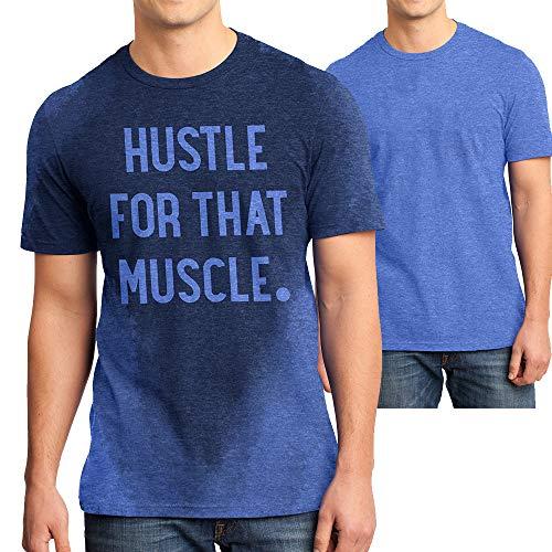 LeRage Shirts Workout Shirt für Herren mit schweißaktivierter Technologie und versteckter inspirierender Botschaft Hustle für die Muskulatur -  Blau -  Groß