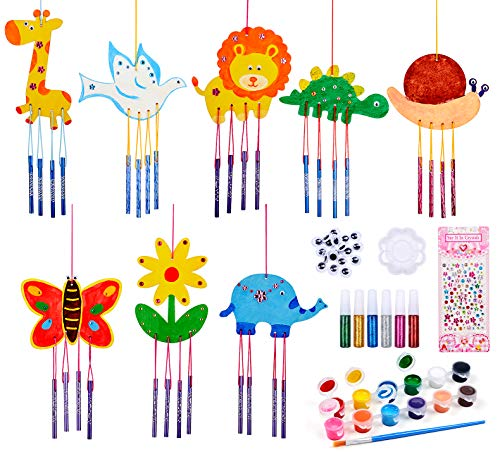 8 Pack Wind Chime Kit for Kids Boys Girls to Build and Paint, Arts and Crafts...
