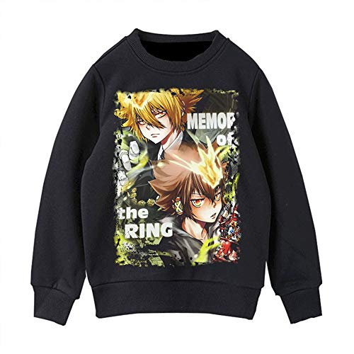 BOBD-DW Sudaderas con Capucha 3D Impreso Hoodies Sweatshirt De Mangas Largas Sudadera Hitman Reborn! Suter 2D Cuello Redondo Negro M
