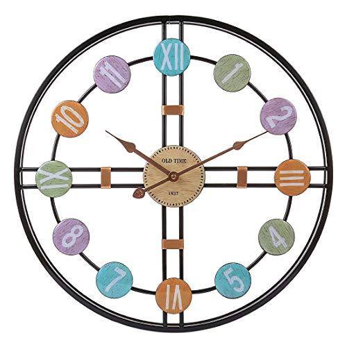MRKE Reloj Pared Grande, 50CM XXXL Reloj Pared Vintage - Silencioso - 3D - Moderno - Metal - Reloj de Pared