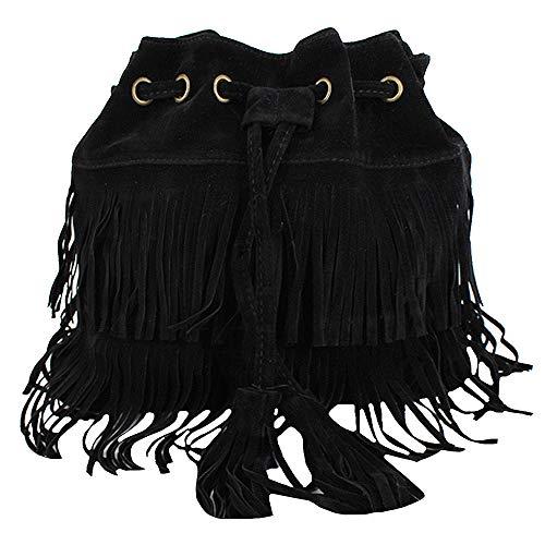 CY Womens Retro Vintage Crossbody Bag Shoulder Bag Cross-body Handbag with Fringe Tassel Black