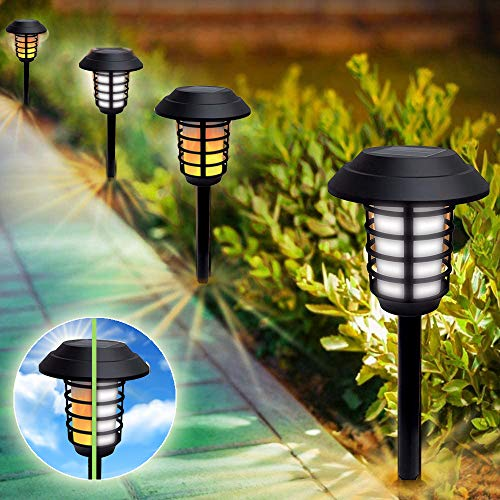 Bell + Howell Smart Solar XL Pathway Lights 2-in-1, Bright White & Flickering Flame Solar Torches Waterproof Outdoor Lighting Landscape Lights Dusk to Dawn Auto On/Off for Garden Patio Yard, 4 Pack