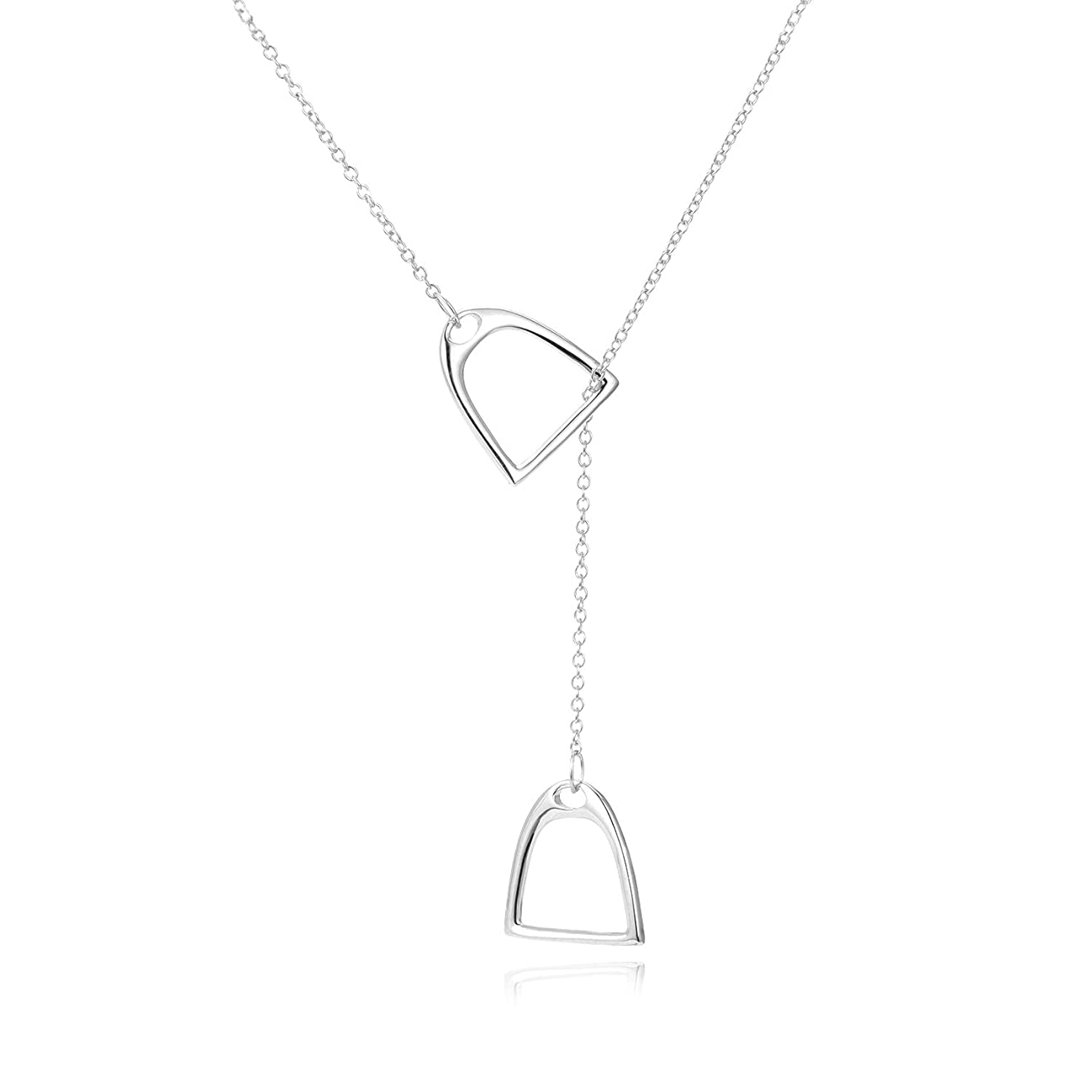 YFN Horse Gift Jewelry 925 Sterling Silver Simple Double Horse Strirrup Lariat Necklace Horseshoe Earrings Gift for Women Girls