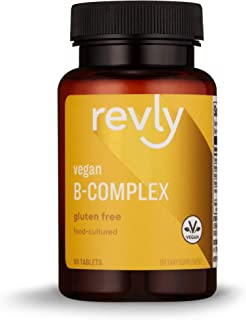 Amazon Brand - Revly Vegan B-Complex, Supports Immune and Normal Energy Metabolism, 60 Tablets, 1 Month Supply, Food-Cultu...