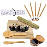 Viesap Kit para Hacer Sushi,Esterilla de Enrollar Sushi de Bambú,5 Pares de Palillos con Bolsita, 2 Esterillas,2 Plato Pequeño,Paleta de Arroz,Esparcidor de Arroz,Kit para Hacer Sushi de Bambú 12 Pcs.