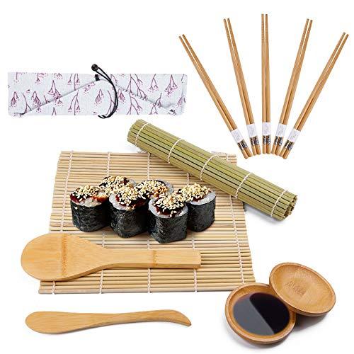 Viesap Kit à Sushi, 12 pièces Tapis de Sushi - Bambou 100% Naturel,Bambou Sushi Maker Kit-5 Paires de Baguettes avec Sac de Rangement,2 Tapis à Rouler en Bambou,2 Palette,pagaie de Riz,spatule à Riz.