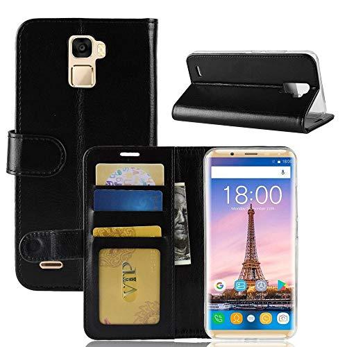 tinyue® Für Oukitel K5000 Hülle, Ultradünne PU-Ledertasche Flip Wallet Cover, R64 strukturierte Business Style Ledertasche, Schwarz