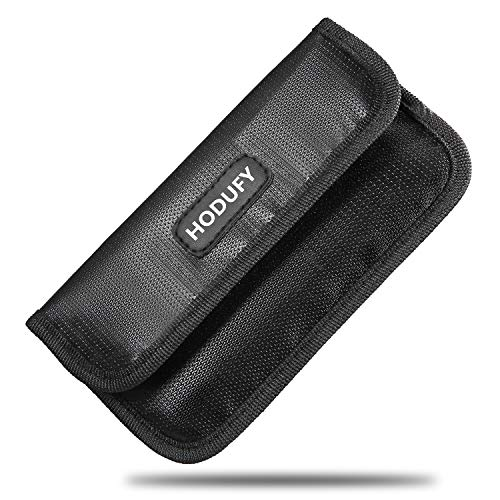 Hodufy Fireproof Faraday Bag, RFID Signal Blocking Bag Shielding Pouch Wallet Case for Cell Phone Privacy Protection and Car Key FOB (Black)