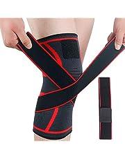 Quesuc Cinturones de compresión Rodilleras deportivas de punto Rodilleras deportivas para correr Bádminton Rodilleras para escalada al aire libre (M) Rojo