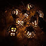 BSTQC Cadena de luces LED solares para exteriores, con forma de pelota de llamas, impermeables, decoración para el patio trasero, la terraza, cafeterías, fiestas de jardín