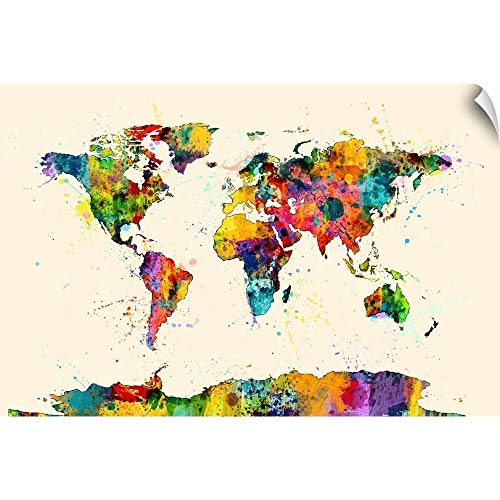 CANVAS ON DEMAND Map of The World Map Watercolor Wall Decal, 30'x20'