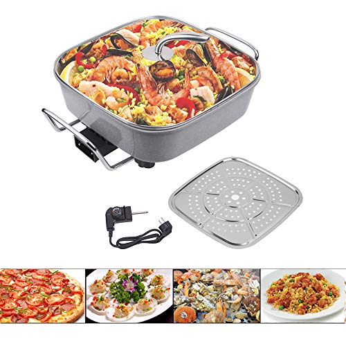 Sinbide 1500W paellera eléctrica para Cocinar Freír Cocer Descongelar Calentar Aluminio Sartén Eléctrica para Pan Pizza Paellera Anti Escaldado 40 X 30 cm 100 - 240 ℃ Antiadherente