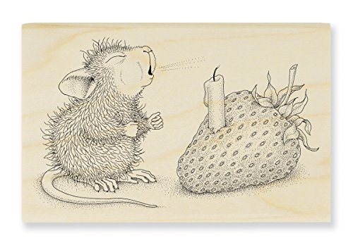 Stampendous HMM18 House Mouse Wood Stamp, Strawberry Wish