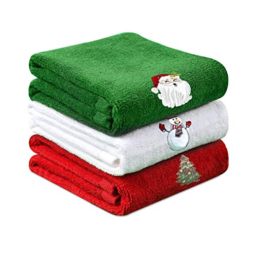 Christmas Hand Towels, 100% Cotton Bathroom Kitchen Washcloths, Wash Basin Towels 12 x 18, Christmas Holiday, Dish Towels for Drying, Cleaning, Cooking & Baking (3 Set: Red, White, Green)