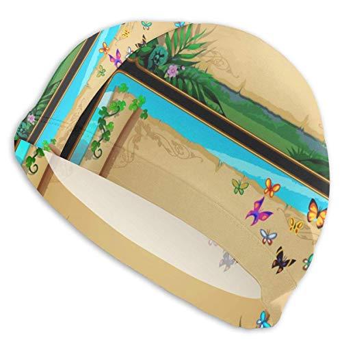 Harley Dulles Bonnet de Bain Deux bannières Rouleaux de parchemin avec Papillons Bonnet de Bain Bonnet de Bain