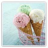 Pegatinas cuadradas (juego de 2) 10 cm, heladería, heladería, conos de tratamiento, ordenador portátil, tableta, equipaje, álbum de recortes #16690