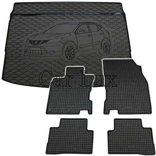 Car Lux DUO05777 - Kit Conjunto Alfombra Protector Maletero y Alfombrillas de Goma a Medida para Nissan Qashqai Tekna II Desde 2014-